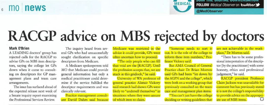 Doctors reject MBS